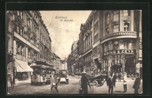 AK Hamburg, Gr. Burstah mit Strassenbahn