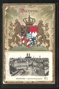 Passepartout-Präge-AK München, Karlstor-Rondell, Wappen