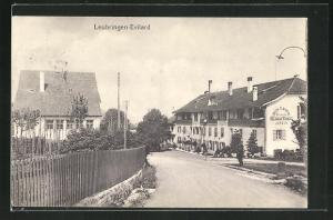 AK Leubringen-Evilard, Strassenpartie am Hotel-Restaurant 3 Sapins
