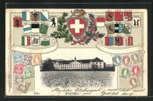 Präge-AK Wülflingen, Blick auf die Anstalt, Schweizer Kantonswappen und Briefmarken