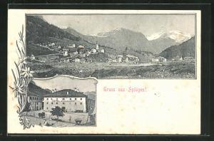 Lithographie Splügen, Hotel Bodenhaus, Gesamtansicht mit Gebirge
