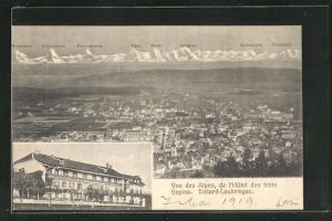 AK Leubringen, Vue des Alpes, de Hotel des trois Sapins