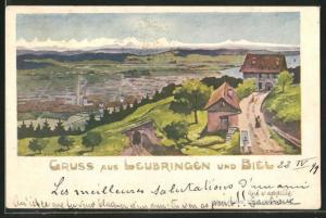 Künstler-AK Leubringen, Teilansicht mit Biel