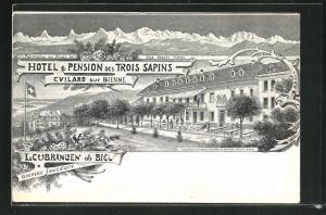 Lithographie Evilard sur Bienne, Hotel & Pension des Trois Sapins