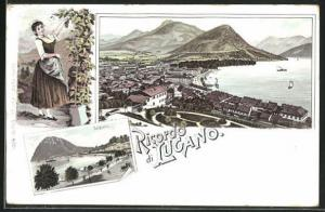 Lithographie Lugano, Teilansichten, Frau bei der Weinlese