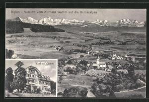 AK Biglen, Aussicht vom Kurhaus Gumm auf die Berneralpen