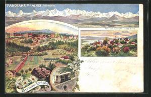 Lithographie Bienne-Evilard, Panorama des Alpes bernoises, Vue sur Evilard et les Lacs, Bergbahn