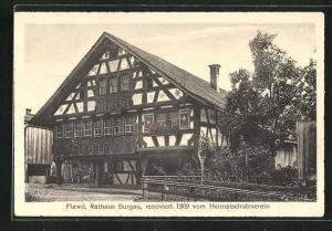 AK Flawil, Rathaus Burgau, renoviert 1909