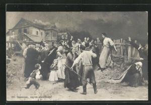 AK russische Hexenjagd, Dorfbewohner drängen eine junge Frau an einen Holzzaun