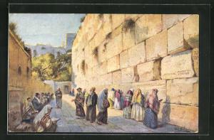 Künstler-AK Jerusalem, The Wall of Lamentation, Haram es Sherif