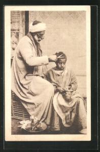 AK Ambulant barber, arabischer Handwerker-Friseur