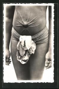 AK Cote d`Ivoire, Parure de femme Bobo, Afrikanische Frau mit Skarifizierung