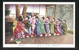 AK Geishas vergnügen sich beim Spiel im Garten