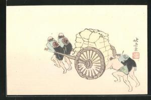 Künstler-AK Japaner ziehen und schieben einen Karren