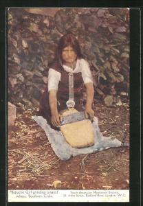 AK Southern Chile, Mapuche Girl grinding toastedt whart