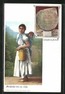 Künstler-AK Muchacha con un nino, Calendario Azteca