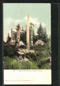 Künstler-AK Alaska, Indian Graves and Totems