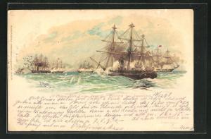 Künstler-AK Reichseinigungskriege, Erste Tat der Marine bei Jasmund, Kriegsschiffe auf hoher See