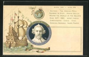Künstler-AK Sir Francis Drake-Portrait, antikes Segelschiff auf hoher See