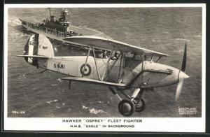 AK Hawker Osprey Fleet Fighter and H.M.S. Eagle in background