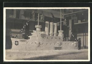 AK Thalwil, Schweizerische Gebirgsmaschine, Kriegsschiff Mönch als Schneeplastik