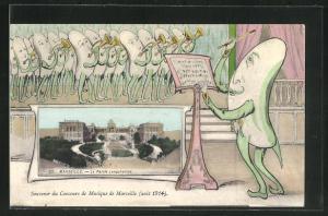 Künstler-AK Marseille, Le Palais Longchamps, Concours de Musique 1914, Gurkenorchester mit Trompeten