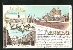 Winter-Lithographie Porrentruy, Rue du Marche, Eglise catholique, Mur du ville