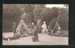 AK Kinder zur Faschingszeit als Indianer verkleidet