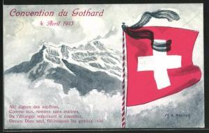 AK Schweiz, Schweizer Nationalflagge vor dem Gothard