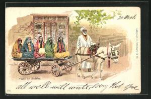 Lithographie Arabische Frauen fahren auf einem Eselgespann durch einen Ort