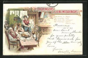 AK Thüringer Volksleben, Leute in thüringischer Tracht, thüringische Lieblingsgericht