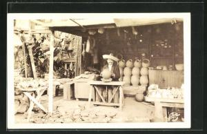 AK Los Angeles. CA, Indian Pottery Maker at Work, Olvera Street