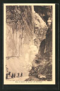 AK Massa, Blick in den Marmorsteinbruch, Cave di marmo del Duomo alla Candoglia