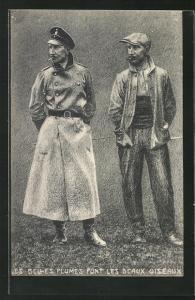 AK Propaganda Entente, Kronprinz Wilhelm von Preussen in Uniform und in Arbeiterkleidung