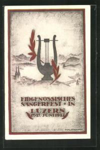 AK Luzern, Eidgenössisches Sängerfest 1922, Harfe mit Lorbeerzweigen