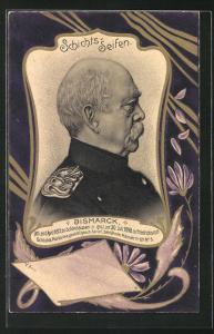 Künstler-Präge-AK Bismarck-Portrait in Uniform, Reklame für Schichts-Seifen