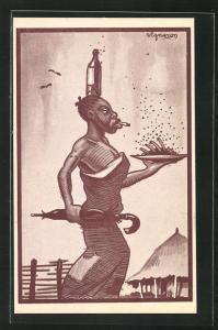Künstler-AK afrikanische Frau mit Flascha auf dem Kopf und Tablett in der Hand