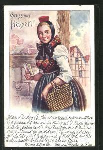 Lithographie hübsches Fräulein mit Brief un Korb in hessischer Tracht