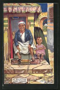 Künstler-AK an Egyptian Wood-Turner, Araber an einem Spinnrad