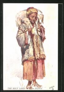 Künstler-AK A Syrien Shepherd, syrischer Schafshirte mit Lamm auf den Schultern