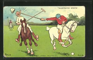 Künstler-AK Tom Browne: Hockeyspieler auf einem Pferd trifft Mitspieler mit dem Schläger
