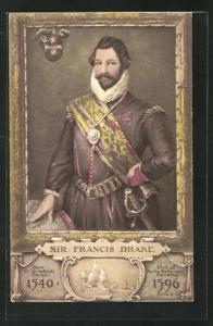 Künstler-AK Sir Francis Drake im Portrait, Segelschiff