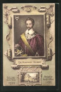 Künstler-AK Sir Humphrey Gilbert im Portrait, Ortsansicht von Dartmouth