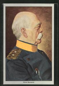 Künstler-AK Fürst Bismarck als betagter Mann in Uniform im Portrait
