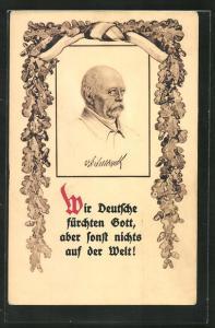 Künstler-AK Portrait von Bismarck, Vers und Eichenblättergirlande