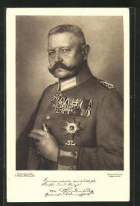 AK Portrait von Paul von Hindenburg in Uniform mit Orden