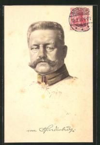 Künstler-AK Paul von Hindenburg in Uniform im Portrait