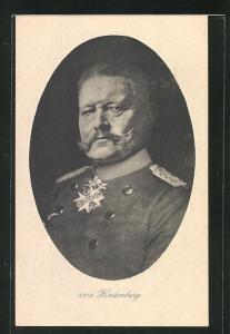 Künstler-AK Portrait von Paul von Hindenburg in Uniform