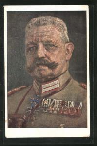 Künstler-AK Paul von Hindenburg in Uniform mit Orden