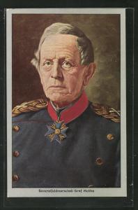 Künstler-AK Portrait von Generalfeldmarschall Graf Moltke in Uniform